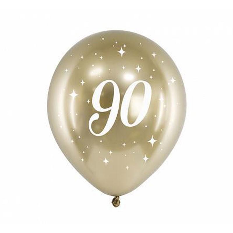 Palloncini lucidi oro stampa bianca 90 anni 30 cm 6 pz CHB14-1-90-019-6
