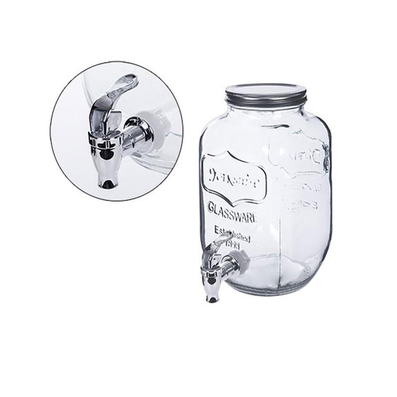Barattolo di vetro con rubinetto 3.8 litri 14.5x14.5x25cm 107944