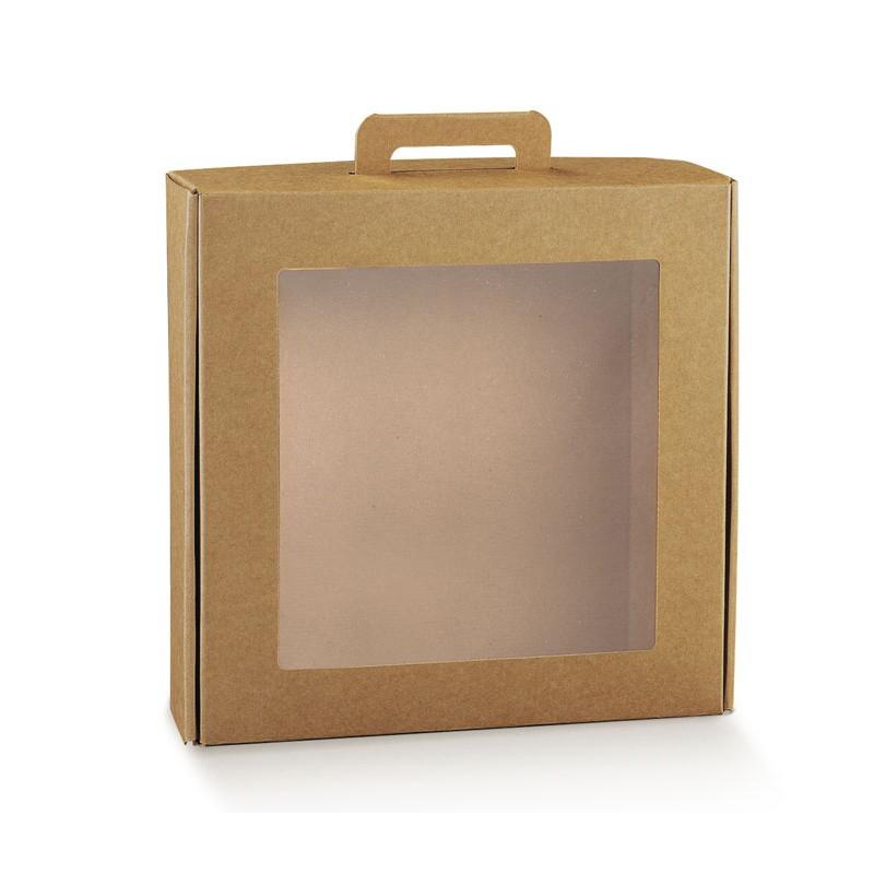 Scatola in cartone trasparente per confezioni regalo con maniglia 290 x 290 x 90 mm 38528