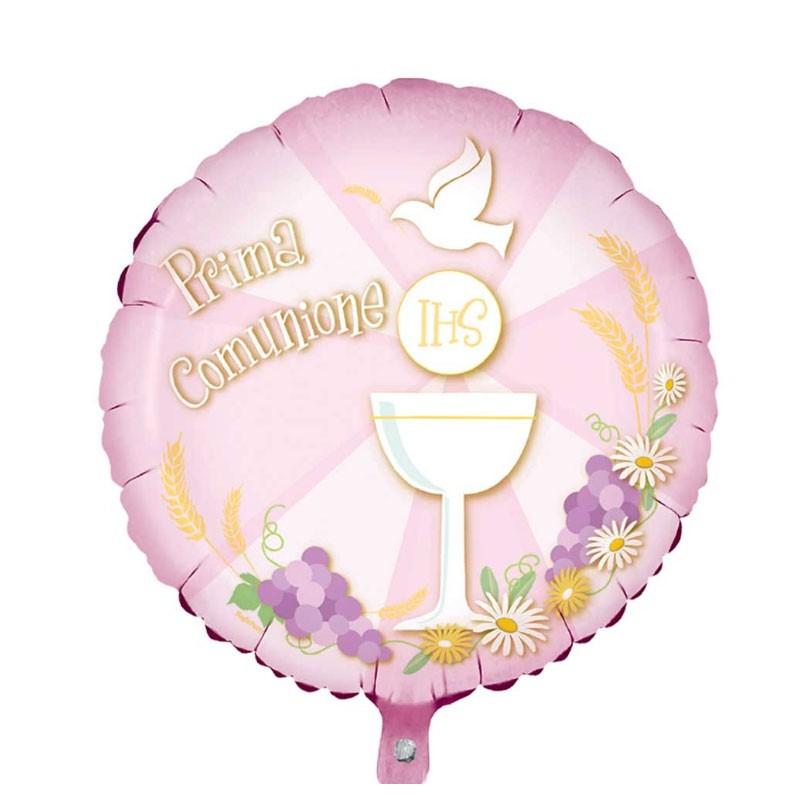 Palloncino Foil mini shape prima comunione rosa tondo MES09/05 23 cm 9\'  12 pz.