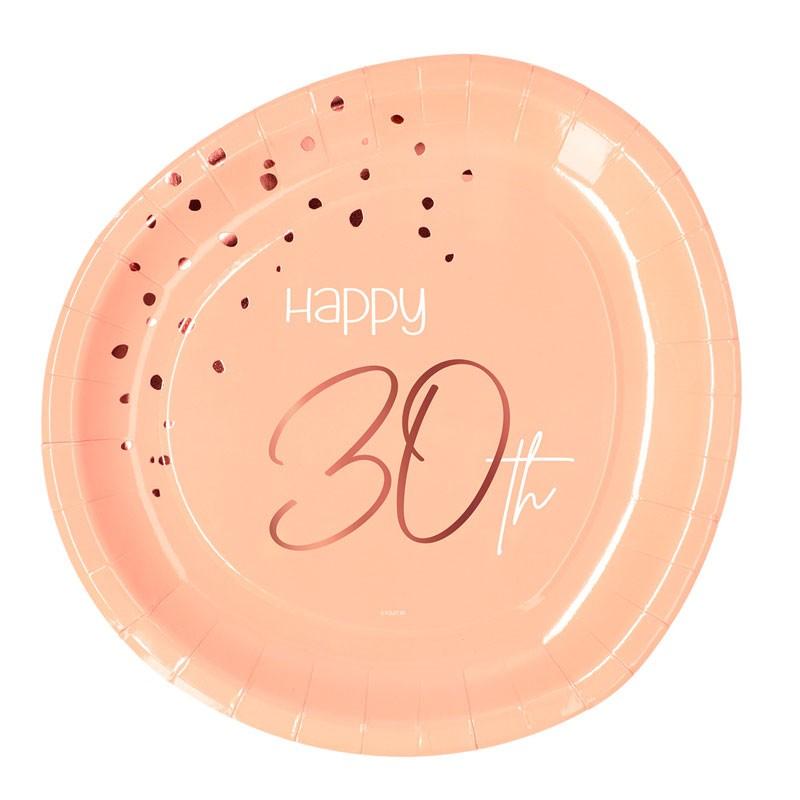 Piatto carta 23 cm Happy 30th Birthday Elegant Lush Blush 8 pz 30 anni