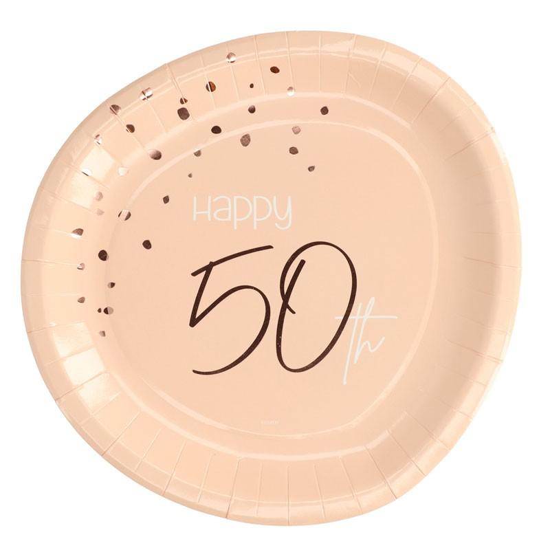 Piatto carta 23 cm Happy 50th Birthday Elegant Lush Blush 8 pz 50 anni