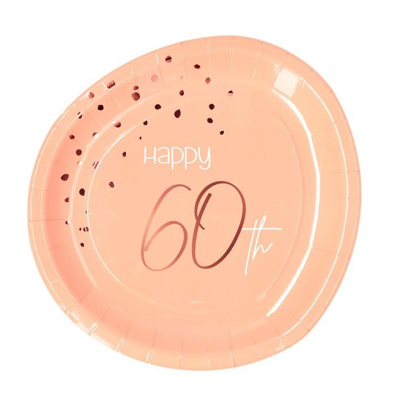 Piatto carta 23 cm Happy 60th Birthday Elegant Lush Blush 8 pz 60 anni