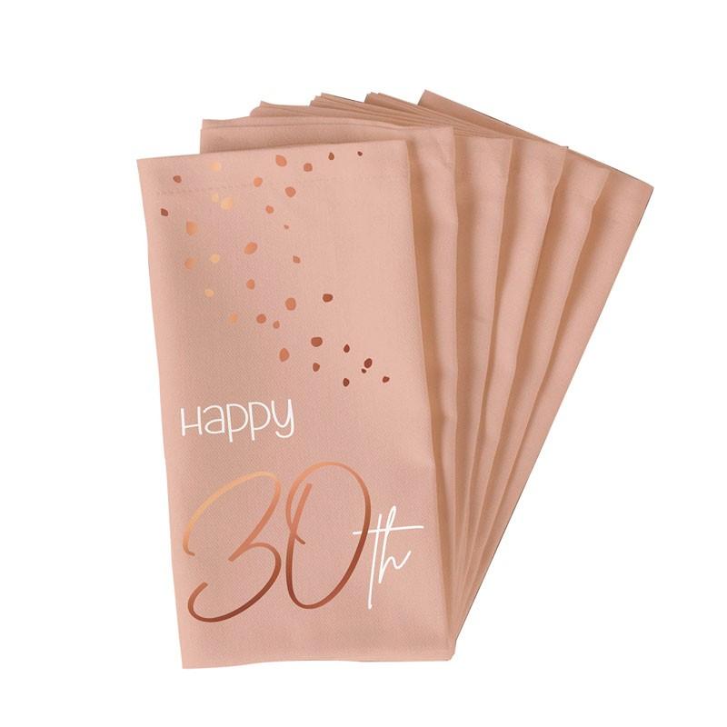 Tovaglioli 33 x 33 cm Happy 30th Birthday 30 anni Elegant Lush Blush 10 pz