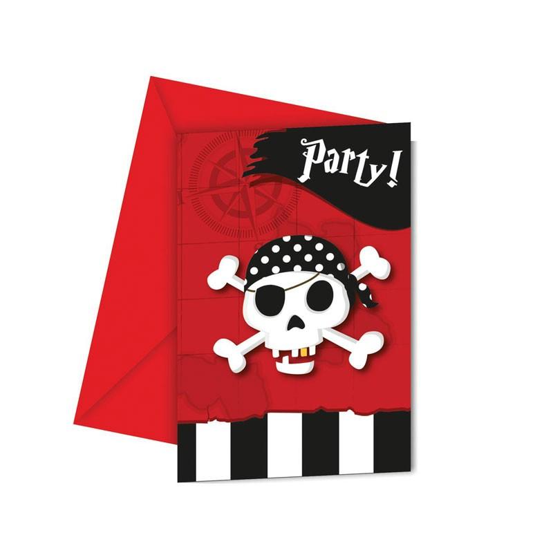 6 Inviti Con Bustina Pirati