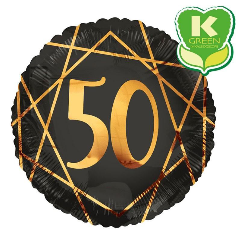 Palloncino tondo foil 50 Anni Nero / oro 18 46 cm 6741467-01