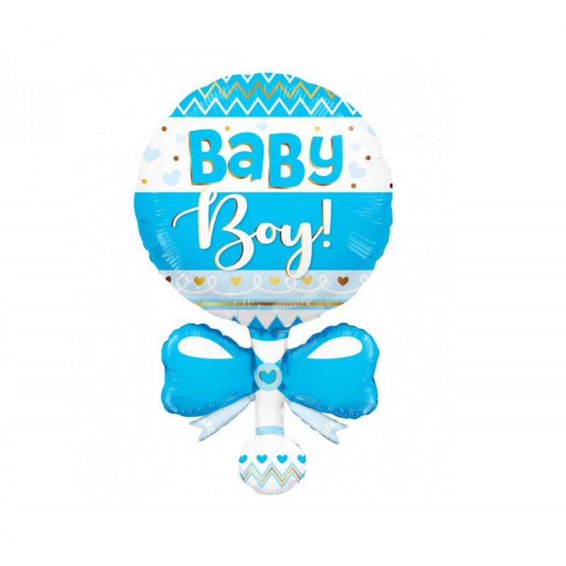 Palloncino foil 91 cm 36 Sagoma Sonaglio Blu Baby boy 15965-36