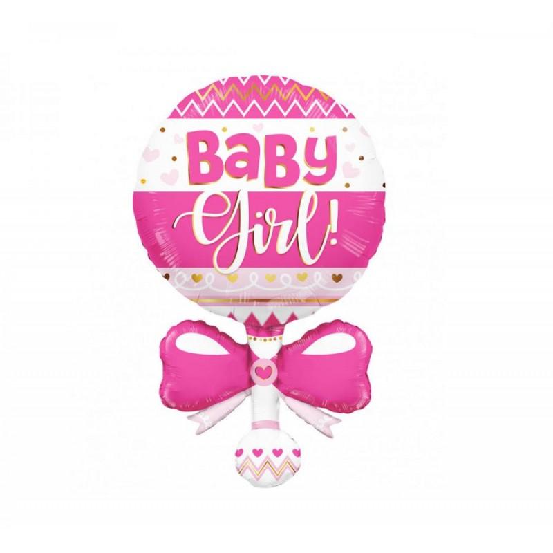 Palloncino foil 91 cm 36 Sagoma Sonaglio rosa Baby girl 15966-36