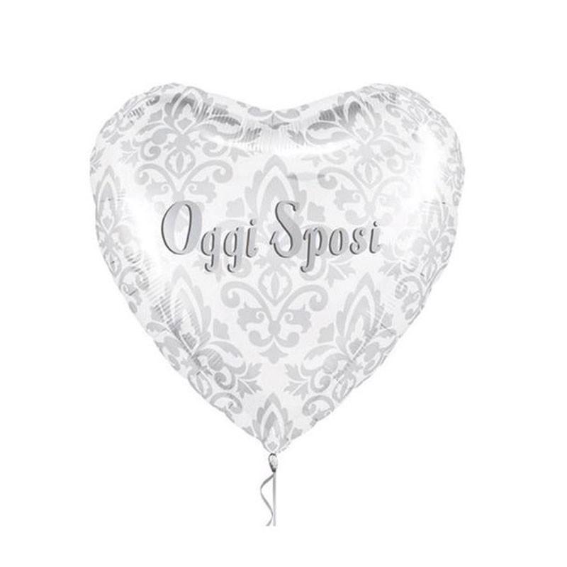 Pallone foil 18  45 cm Oggi Sposi cuore argento 5NS99923-01