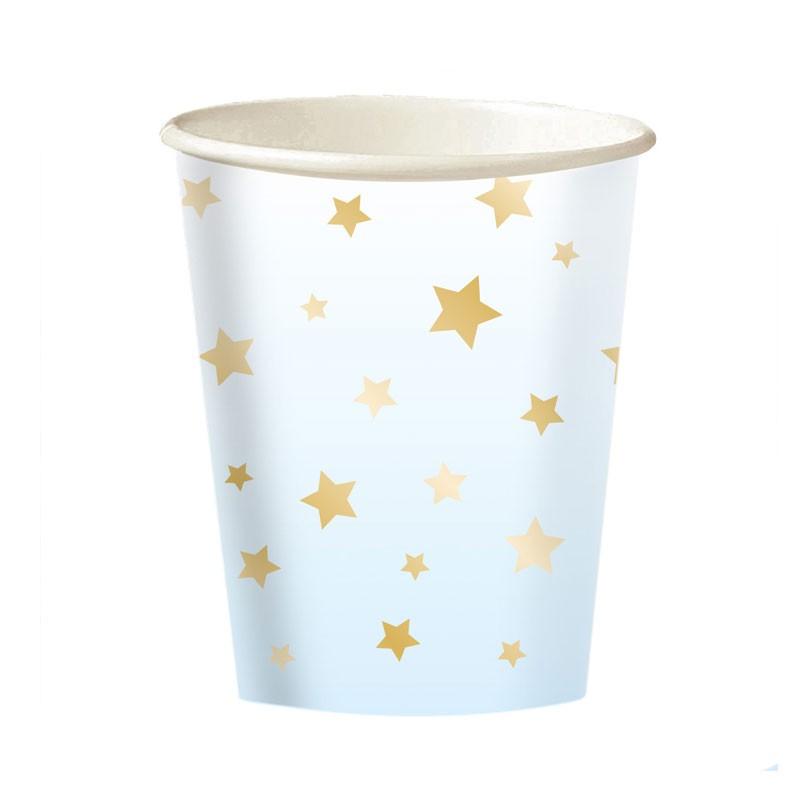 Bicchieri carta 1 Compleanno Ombre Azzurro 8 pz 9910301