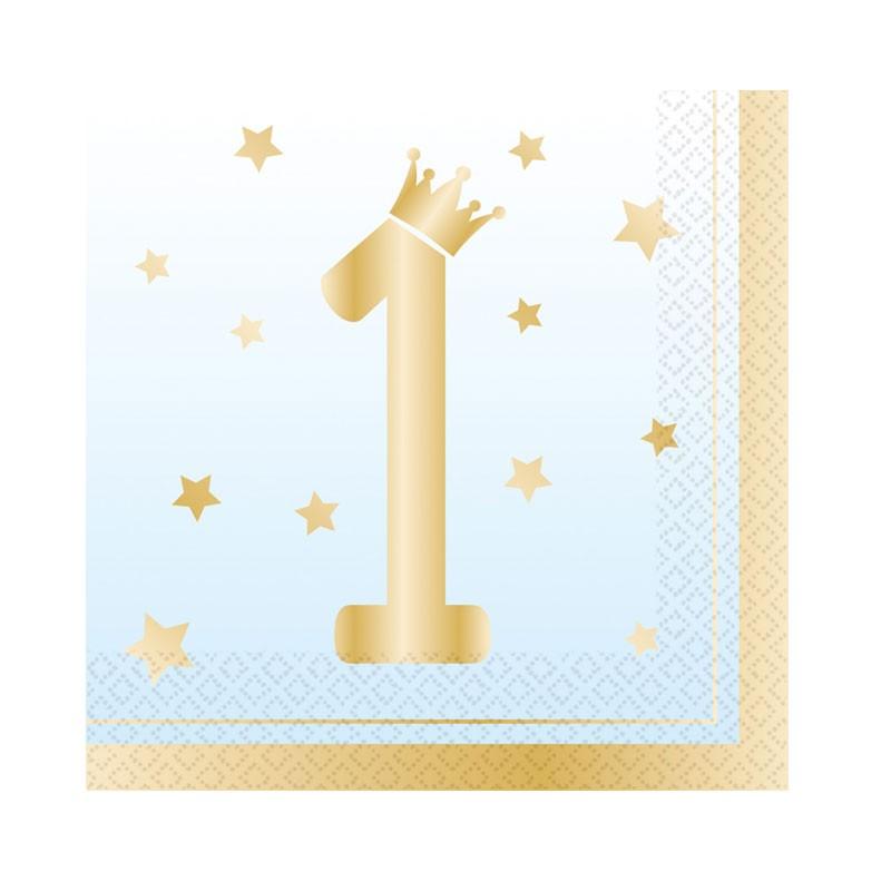 Tovaglioli 33 x 33 cm 1 Compleanno Ombre Azzurro 16 pz 9910302