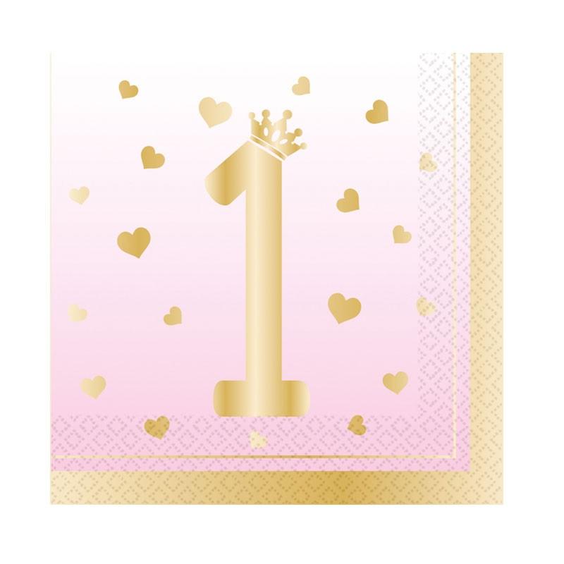 Tovaglioli 33 x 33 cm 1 Compleanno Ombre rosa 16 pz 9910302