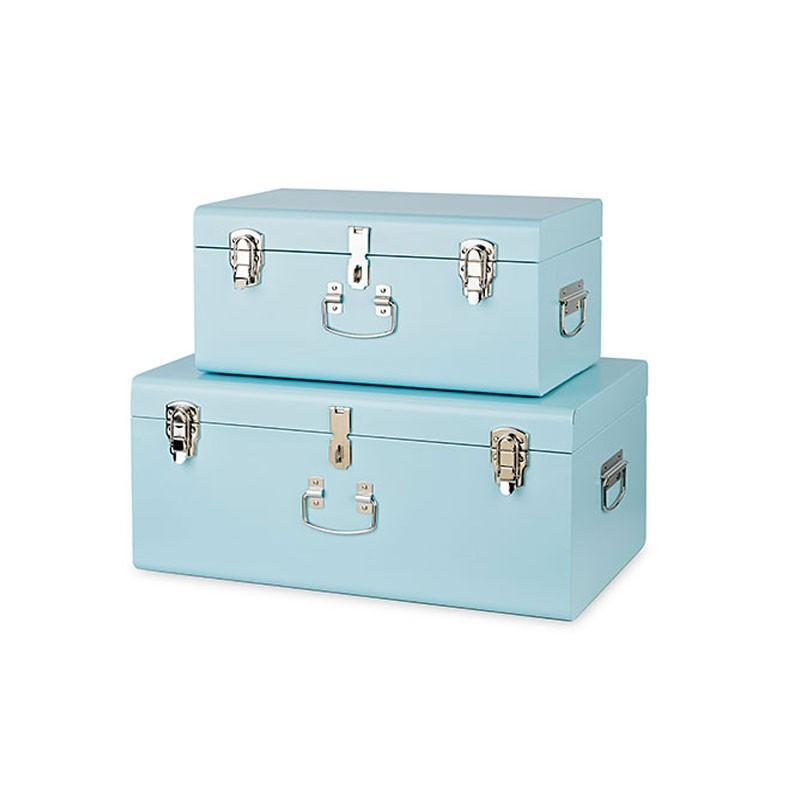 set 2 bauli metallo azzurri 28536 440 x 270 x 210 - 560 x 350 x 250 mm