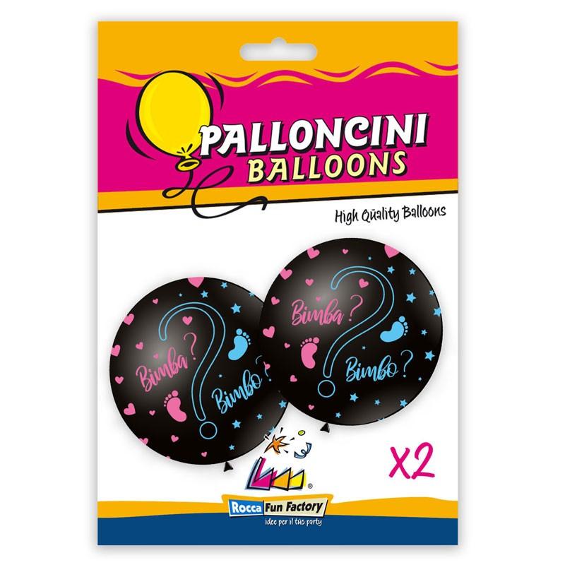 Blister 2 pz 33-83 cm palloncini neri rosa e celelste bimbo/bimba ? 6741290