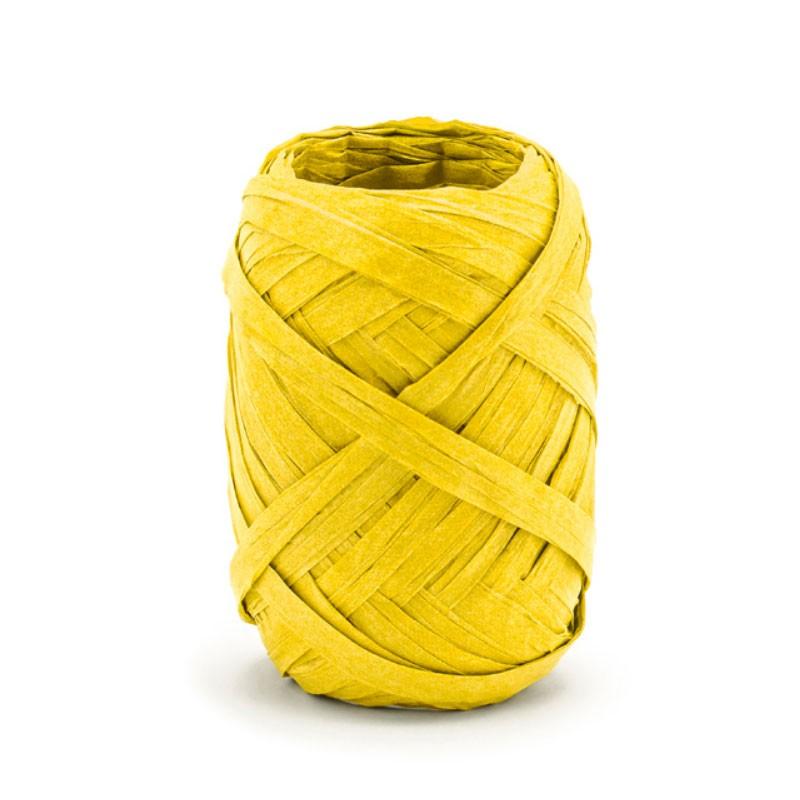 Nastro di rafia, giallo, larghezza ca. 5 mm, lunghezza ca. 10 m.  RAF1-084