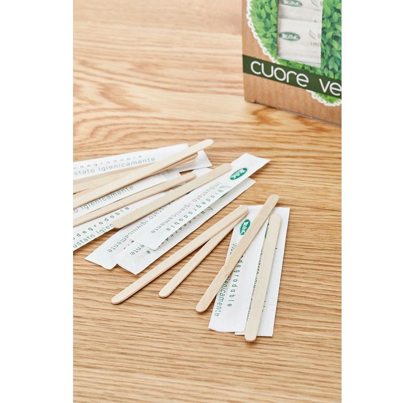 Paletta in legno imbustata biodegradabile Q1023 9x0,6x0,13 cm 500 pz.