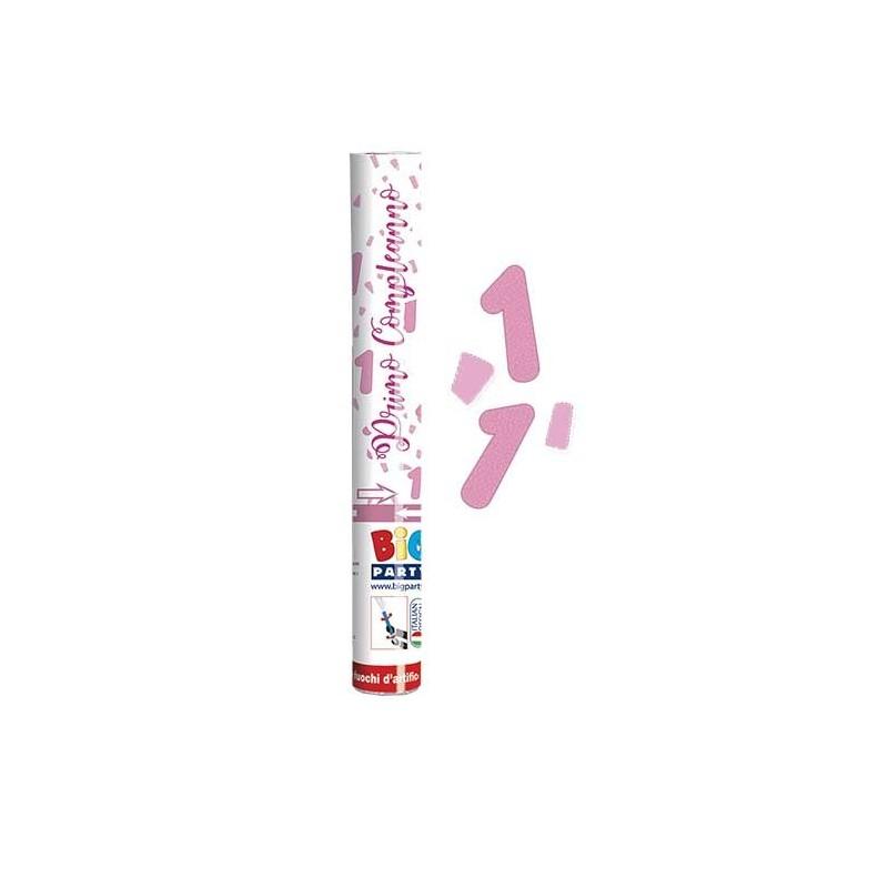 Sparacoriandoli sagomati  Buon Primo Compleanno Rosa 30 cm 50208