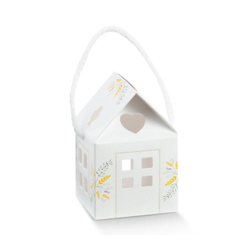 Scatolina porta confetti casetta comunione holy spring 55 x 55 x 50 mm 16853 1 pz.