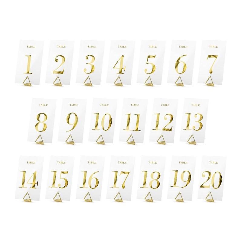 Numeri oro da tavolo 7x12cm in lamina trasparente numeri da 1 a 20 KPZ4-019ME