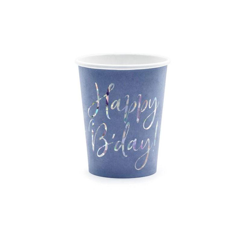 6 bicchieri Happy B\'day! blu navy 220ml con scritta olografica KPP63-074