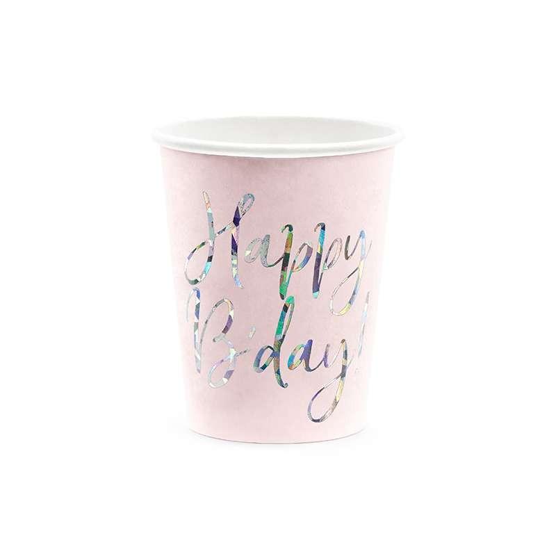 6 bicchieri Happy B\'day! rosa cipria chiaro 220ml con scritta olografica KPP63-081PJ