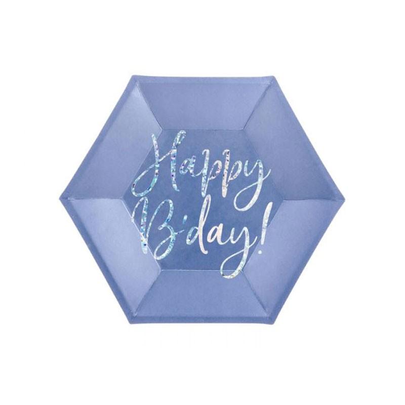 6 Piatti Happy B\'day ! blu navy 20cmcon scritta olografica TPP63-074
