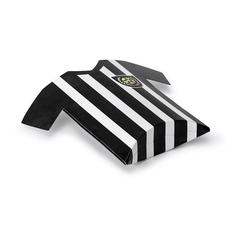 6 scatoline Maglie da calcio  bianco nero e oro 12 x 11 x 2,5 cm PUDP38 porta confetti o caramelle