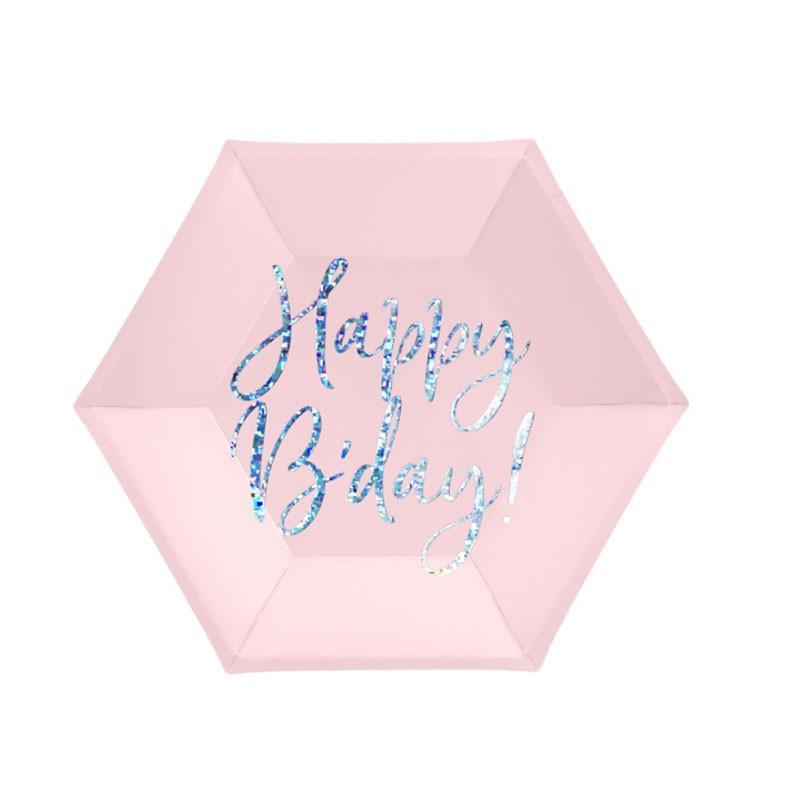 Piatti Happy B\'day! rosa cipria chiaro 20cm con scritta olografica TPP63-081PJ