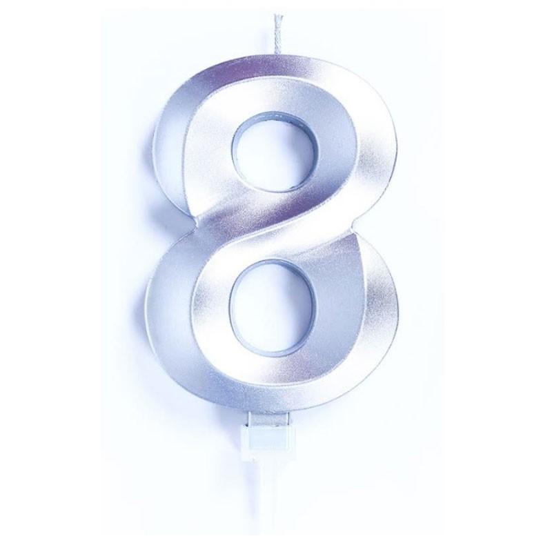 candelina 10 cm luxury argento chrome n.8 C838
