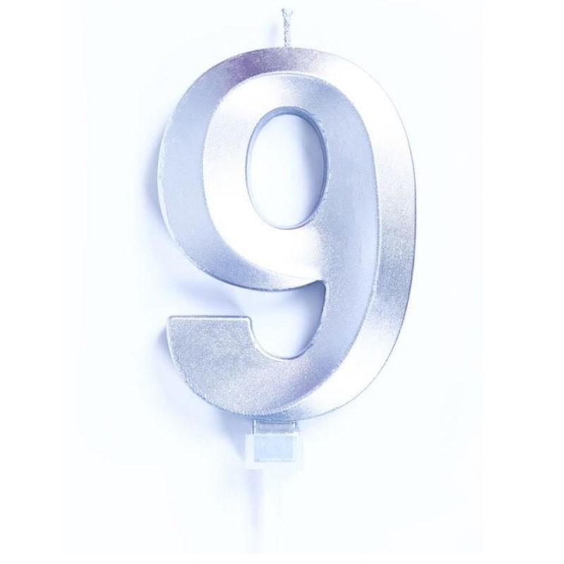 candelina 10 cm luxury argento chrome n.9 C839