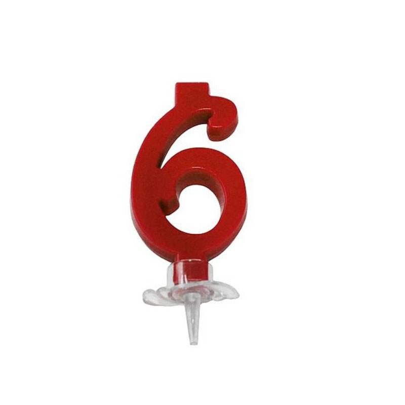candelina 7 cm rosso n. 6 C553