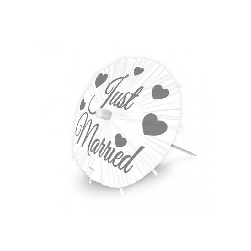 STUZZICADENTI / PICKS OMBRELLINO JUST MARRIED 24 PZ 21385 COCKTAIL MATRIMONIO