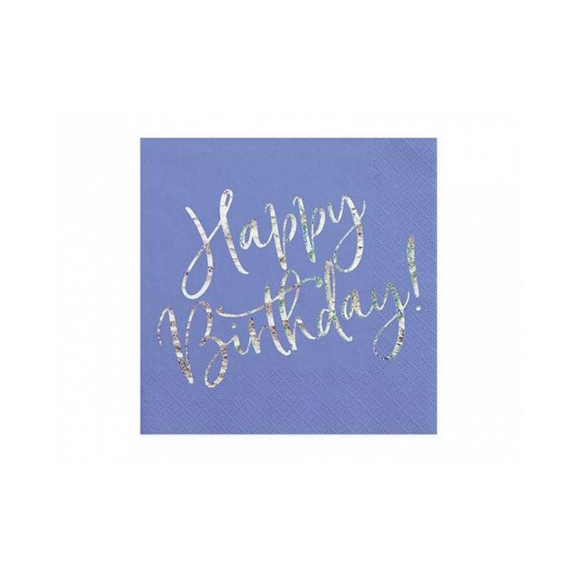 tovaglioli Happy B\'day! rosa cipria chiaro con scritta olografica SP33-80-081PJ 20 pz. 33 x 33 cm