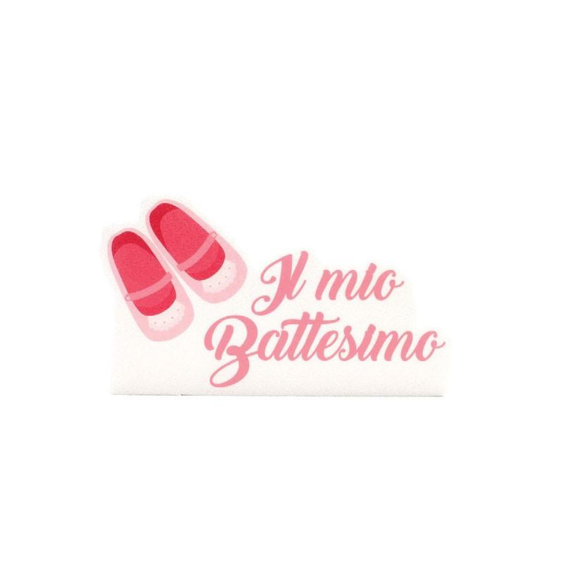 Decorazione Polistirolo il  mio Battesimo scarpette rosa PL26