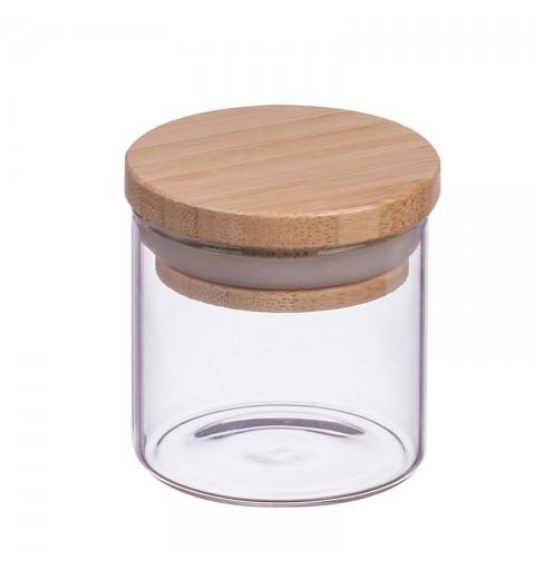 Portaspezie in vetro coperchio legno d.5 x h.6 cm 65801 1 pz.