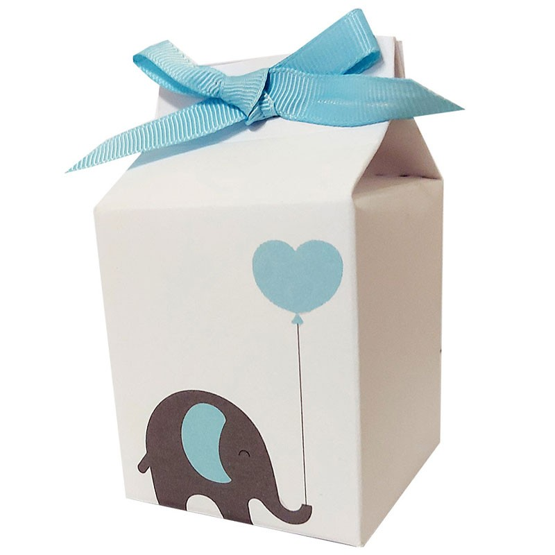 Scatolina in cartoncino milk baby elephant celeste elefantino 5,5 cm  x 6 cm