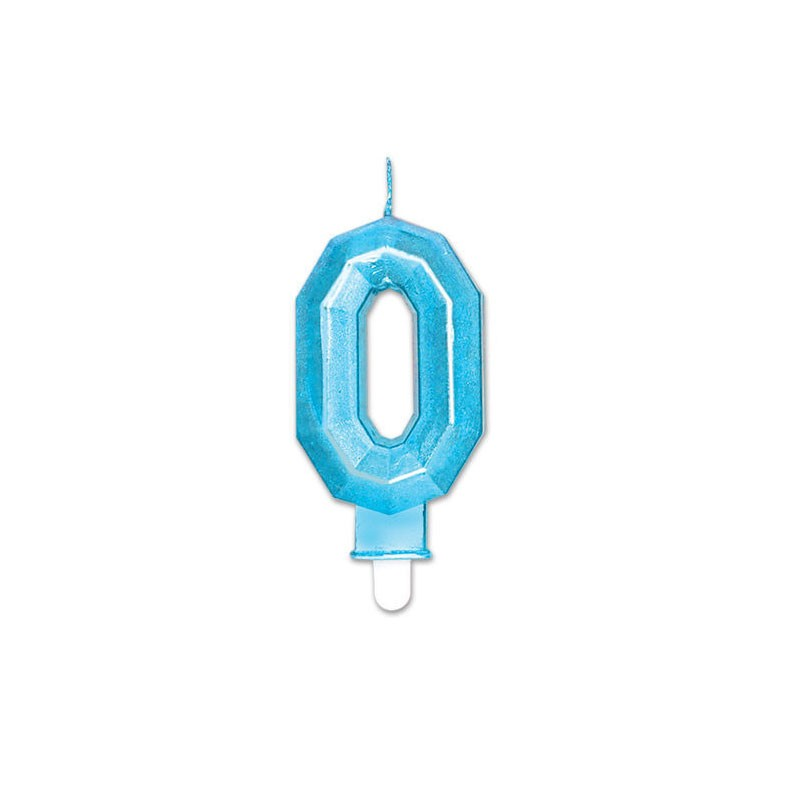 Candelina Diamant blu Metal 9 cm numero 0 72890