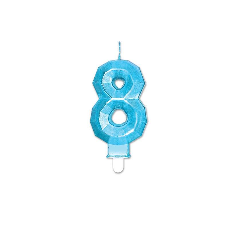 Candelina Diamant blu Metal 9 cm numero 8 72898