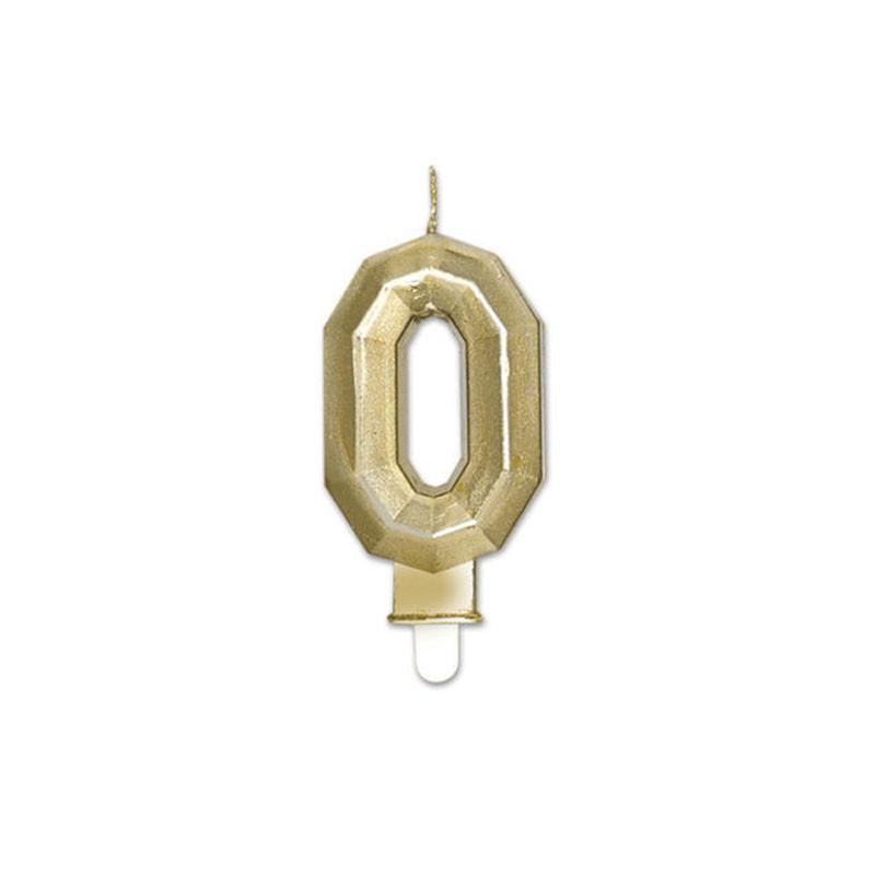 Candelina Diamant oro Metal 9 cm numero 0 72910