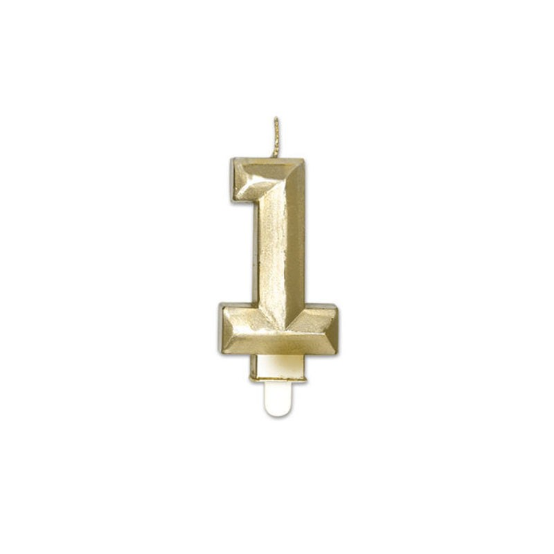 Candelina Diamant oro Metal 9 cm numero 1 72911