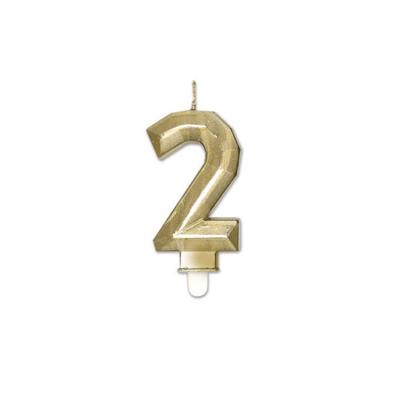 Candelina Diamant oro Metal 9 cm numero 2 72912