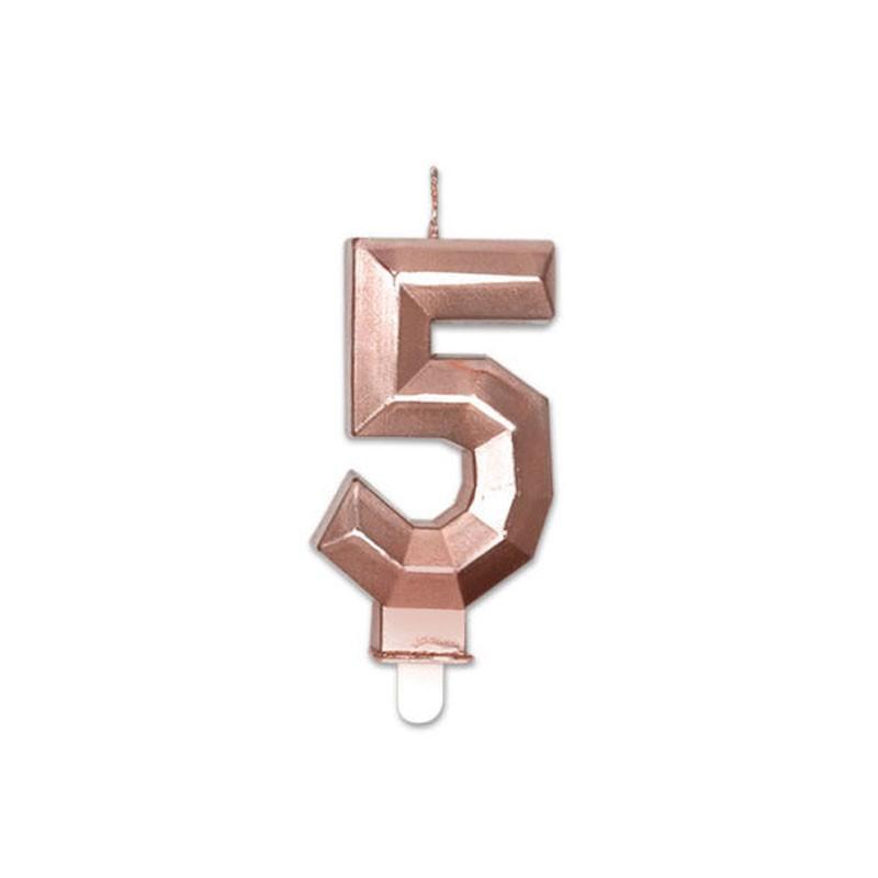 Candelina Diamant rose gold Metal 9 cm numero 5 72925