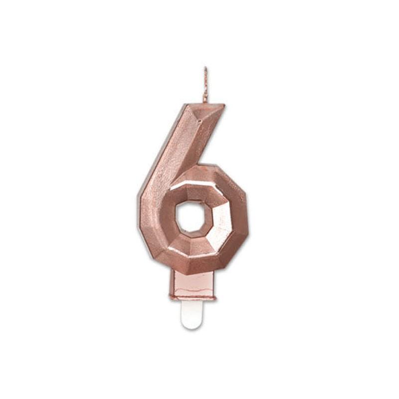 Candelina Diamant rose gold Metal 9 cm numero 6 72926