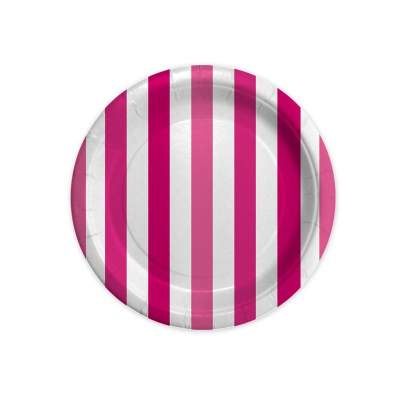 8 Piatti Ø 18 cm Stripes Fuxia 61796