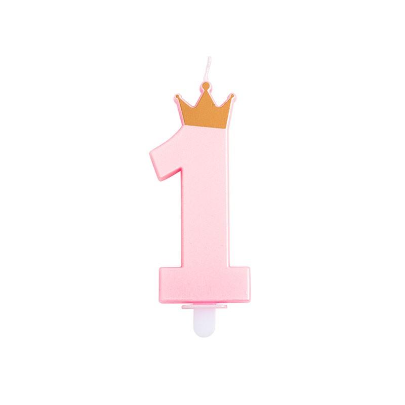 candelina 1 anno rosa con corona 9,5 cm 51861