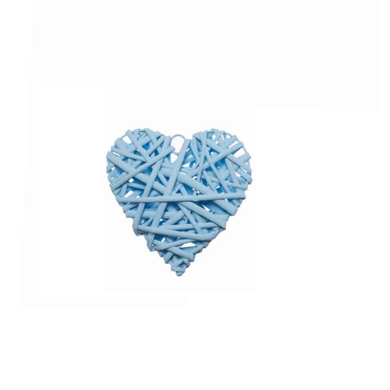 cuore in rattan celeste 15 x 15 cm 527250