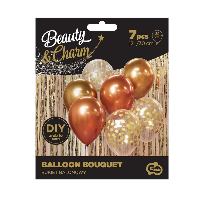 set 7 palloncini oro per comporre un bouquet 30 cm BB-ZLM7