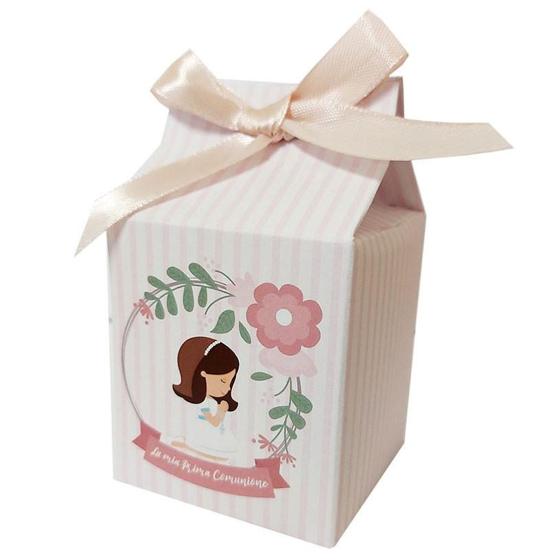 Scatolina in cartoncino milk prima comunione bambina rosa 5,5 cm  x 6 cm