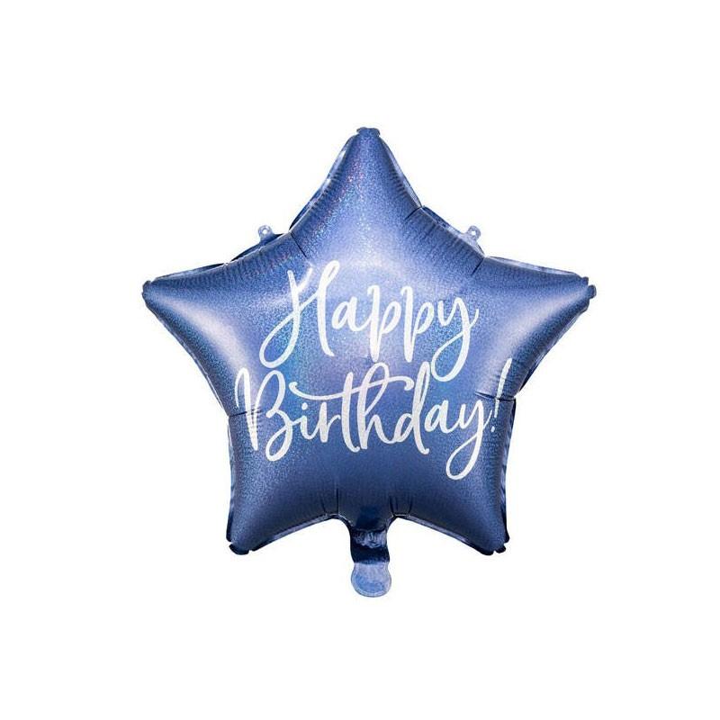Palloncino foil Happy Birthday 40cm blu navy forma di stella FB93-074