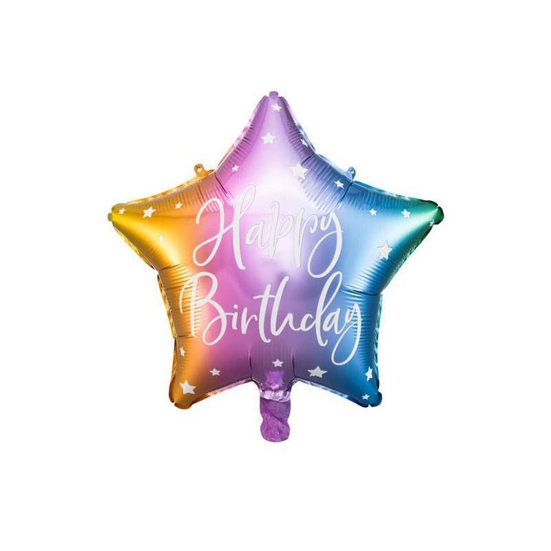 Palloncino foil Happy Birthday 40cm multicolor a forma di stella FB93-000